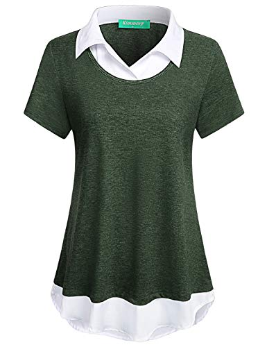 Kimmery Green Shirts for Women, Office Formal Classical Modern Jersey Knit Flowy Layered Tops Contrast Collar Short Sleeve Brief Coffee Shop Weekend Gathering Clothes Cute Blouse XXL