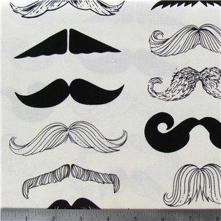 New Window Curtain UNLINED Valance made from Cotton fabric Stache Mustache