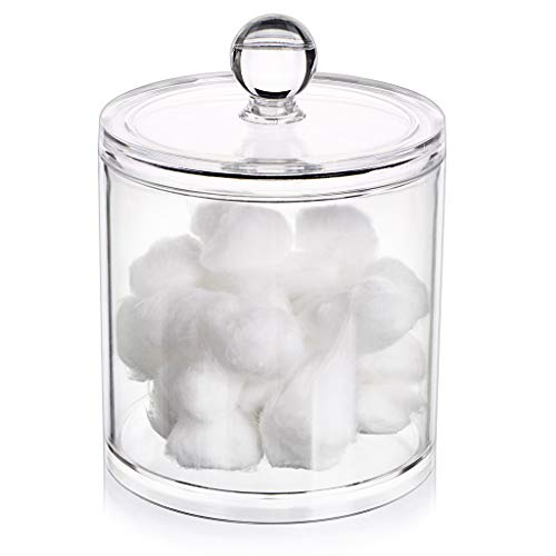 Hipewe Cotton Ball Swab Organizer Lid Apothecary Acrylic Jar Makeup Cotton Organizer Bathroom Storage Canister Jar Cotton Rounds Pads Q-Tips Holder