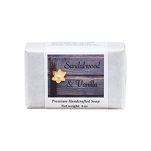 Sandalwood Vanilla Soap - Handmade Soap for Softer Skin with Cocoa Butter, Shea Butter, Sweet Almond, Fragrance and Essential Oils by MoonDance Soaps (One Bar, 4 oz) - Glycerin Soap Slice