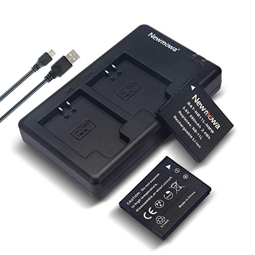 Newmowa NB-11L/11LH Replacment Battery (2 Pack) and Dual USB Charger Kit for Canon NB-11L/11LH and Canon PowerShot A2300 is,A2400 is,A2500,A2600,A3400 is,A3500 is,A4000 is,ELPH 110 HS,SX400 is (11l Battery Pack)