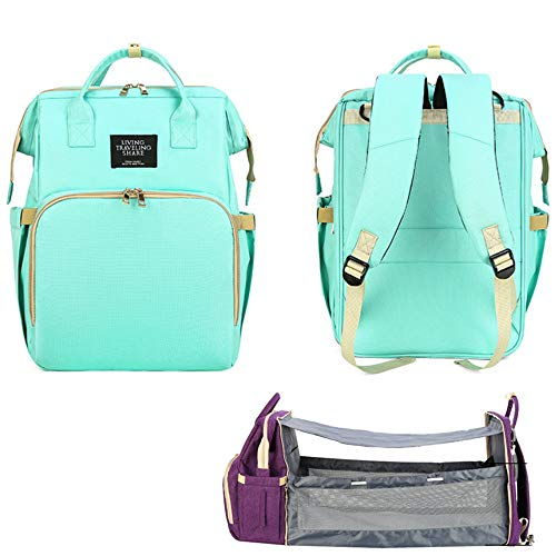 Large Capacity Diaper Bag Backpack with Folding Crib Outdoor Multifunctional Baby Bag,Green