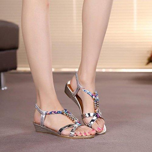 Été Chaussures Plage Strass De Internet Confortable Sandales Plat Argent Femmes wx5U11Xq0
