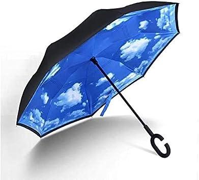 Parapluie invers/é Coupe-Vent Protection UV Double Couche Voyage en Plein air Blue Sky White Cloud 80 * 7cm Pliable Long Parapluie autoportant avec poign/ée en Forme de C pour Voiture Pluie