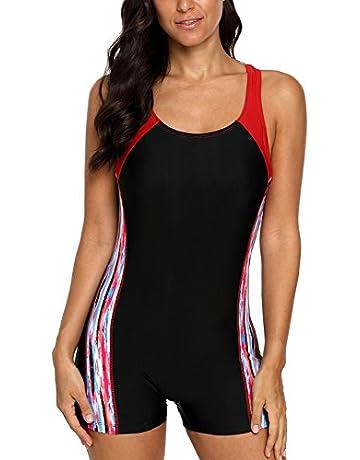 00a4f4bbd0 CharmLeaks Women Boyleg One Piece Swimsuit Sport Swimming Costume Modest  Swimwear