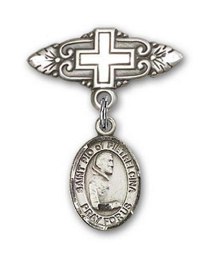Icecarats Créatrice De Bijoux En Argent Sterling St. Pio De Pietrelcina Broche De Badge Charme Avec Une Croix X 3/4