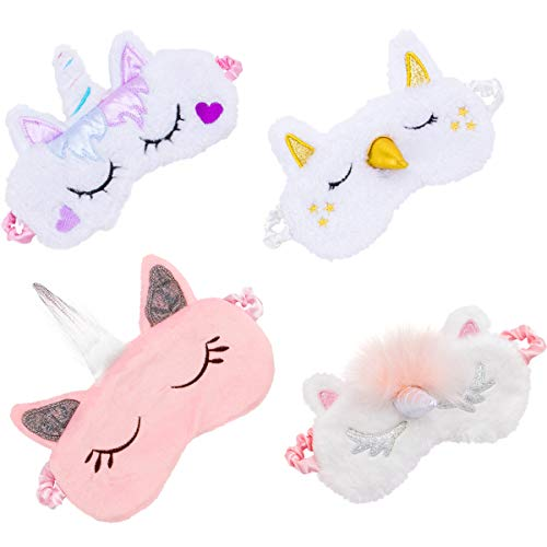 Biubee 4 Pack Soft Plush Unicorn Sleeping Mask- Cute Unicorn Horn Blindfold Eye Cover for Women Girls Travel Nap Night Sleeping