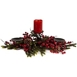 Melrose International Pine Laden with Red Berries 27-Inch Candle Centerpiece