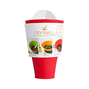 """Splatter screen alternative - Frywall 10"""" - stops grease splatter without trapping steam - continuous access - dishwasher safe - compact storage"""