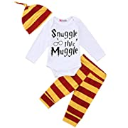 Newborn Baby Boys Girls Snuggle this Muggle Short Sleeve Bodysuit Shirt and Striped Pants Outfit with Hat (100 (12-18M), Long sleeve)