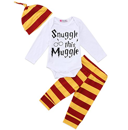 Newborn Baby Boys Girls Snuggle this Muggle Short Sleeve Bodysuit Shirt and Striped Pants Outfit with Hat (90 (9-12M), Long sleeve) Long Sleeve Striped Onesie