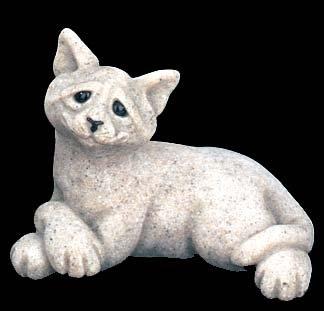 Quarry Critter Cadbury the Cat in Gray, Retired Granite Resin Figurine ()