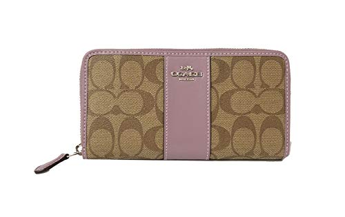 COACH ACCORDION ZIP WALLET IN SIGNATURE F54630 (SV/Khaki Jasmine)