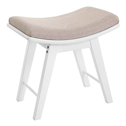 SONGMICS Vanity Seat, Modern Makeup Dressing Stool, Padded Bench with Rubberwood Legs, White URDS51W (Curved Bench Backless)