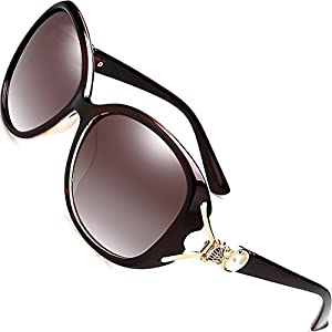 SIPLION Women's Shades Oversized Polarized Fox Sunglasses 100% UV Protection 7616 Brown