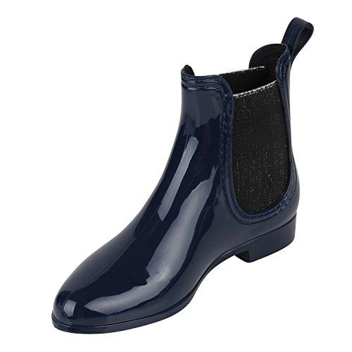 Wasserabweisende Damen Gummistiefeletten | Chelsea Boots | Dehnbare Gummieinsätze | Bequeme Passform | Gr. 36-41 DUNKELBLAU GLITZER