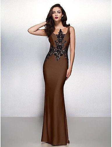 Sirena Negro Prom Boca Cuello Jersey Tren De amp;OB Trompeta Noche Lazo Apliques Con Gala Vestido Formal Barrer HY Brown Cepillo CqzAtxxw