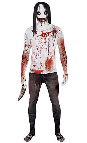 Morphsuits Men's Jeff the Killer Urban Legends Fancy Dress Costume-Size 165 to 180cm, Black/White/Red, (Morph Suit Price)