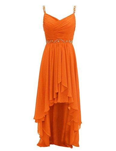 Party Low Bridesmaid Orange Prom Gowns Straps Dresses High Wedding Beads Chiffon Cdress q6Raza