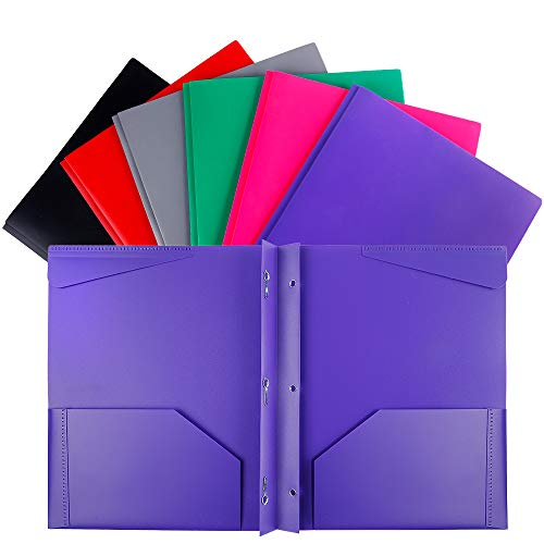 INFUN Plastic Folders with Prongs and Pockets,Heavy Duty 3 Prong Folders with Pockets for Letter Size Papers ,Assorted Colors 6Pack