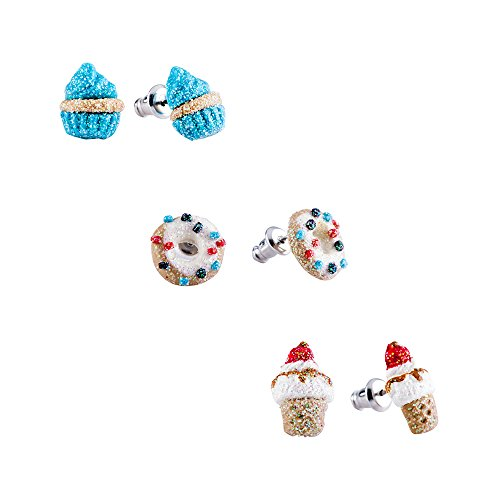 Hypoallergenic Polymer Clay Earrings Set for little girls, Cupcake Earrings for Kids Children's Jewelry (3 Pairs)