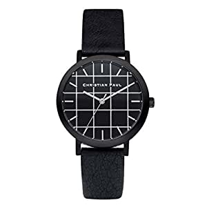 Christian Paul GRL-01 Men's Stainless Steel Black Leather Band Black Dial Watch