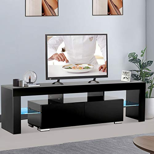 mecor Black TV Stand with Light LED TV Stand for 65 Inch TV High Gloss TV Stand with Storage and 2 Drawers for Living Room (Stand Tv Black)