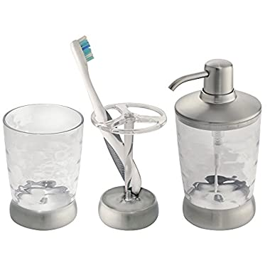 mDesign 3-Piece Bath Vanity Accessories - Soap Dispenser, Tootbrush holder, Tumbler, Clear/Brushed Stainless