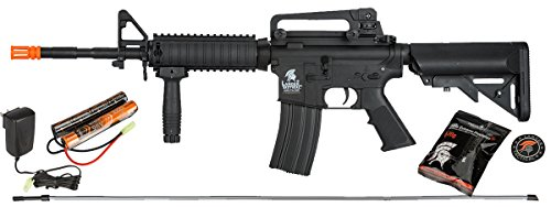 UKARMS Lancer Tactical M4A1 Airsoft Gun Rifle RIS SOPMOD AEG Metal Gears Raider w/ 9.6v Battery & Charger (Black High Velocity) For Sale