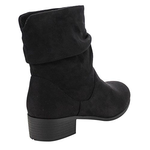Soda FD58 Womens Slouchy Pull On Low Block Heel Ankle Booties Ankle Bootie