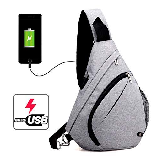 USB Bolso Kimruida Viajes Hombre LGY Ideal y para Casual Estilo Senderismo Bandolera DGY con Deportivo Carga para Uwqrwdz6A