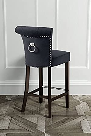 MY Furniture High Quality Upholstered buttoned Barstool with back ring POSITANO Black Velvet