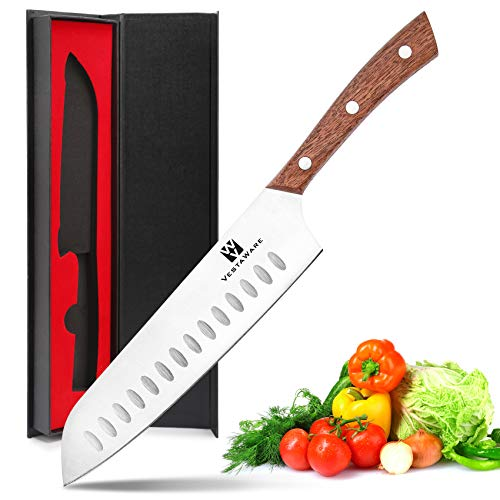 Santoku Knife 7 Inch, Vestaware Chef Knife, Sharp Kitchen knife, German High Carbon Stainless Steel Chef's Knife with Gift Box