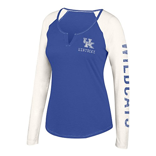cky Wildcats Womens NCAA Women's Notch Neck Long Sleeve Tee, Large, Royal Antique White ()