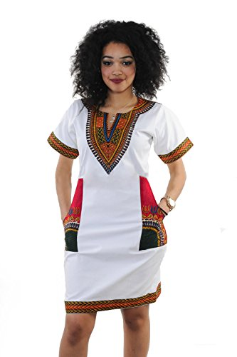 Women Traditional African Print Dashiki Bodycon Short Sleeve Dress White Red 3XL]()