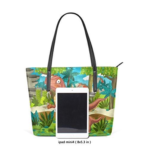 fa58833b5c37c COOSUN Cartoon Happy Dinosaurier PU Leder Schultertasche Handtasche und Handtaschen  Tasche für Frauen