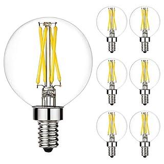 LiteHistory Dimmable e12 led Bulb g16.5 led Light Bulbs g16 Candelabra Bulbs 4W=40W Edison Bulb Daylight 5000K 400lm ac120v g50 Globe Light Bulbs for Chandelier,Vanity,Ceiling Fan Light Bulbs 6Pack