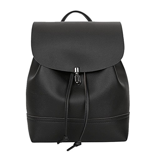 Vintage Pure Color Leather School Bag Backpack Satchel Women Trave Shoulder Bag for $<!--$6.99-->