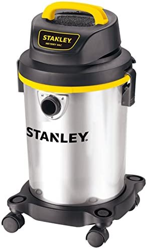 Stanley 4 Gallon Wet Dry Vacuum , 4 Peak HP Stainless Steel 3 in 1 Shop Vac Blower with Powerful Suction, Multifunctional Shop Vacuum W 4 Horsepower Motor for Job Site,Garage,Basement,Van,Workshop