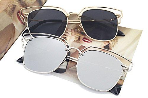 de Moda gafas Gafas Señoras portátil color sol DESESHENME de espejos lentes sol gafas Gafas oro con colores Playa conducción de Grande borde de de Bastidor de Borde lentes plata blanco color gris de 56AZwqdZX