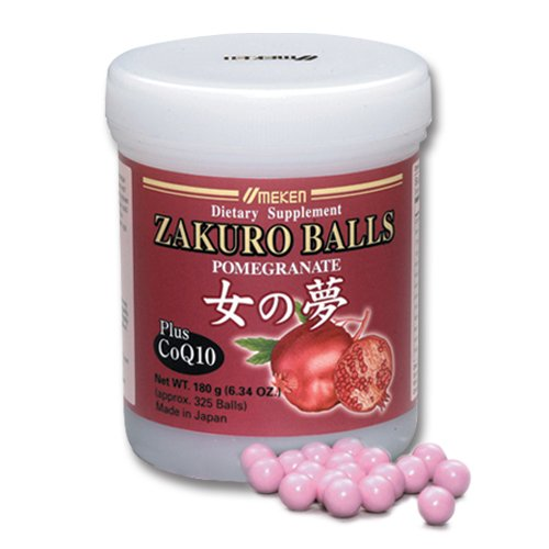 Umeken Zakuro Balls - Concentrated Pomegranate Extract with CoQ10, Natural Vitamins, Minerals, Citric Acids, and Tannins. Chewable. Made in Japan. About a 2 month supply.