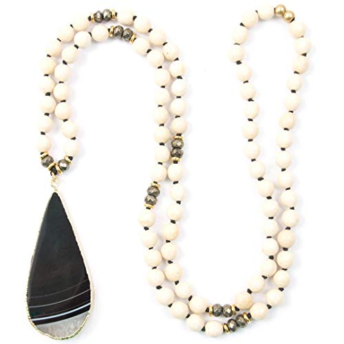 Black and White Agate Pendant Necklace with Fossil Stone and Pyrite - 33 Inches Long Hand-Knotted Necklace by Miller Mae Designs ()