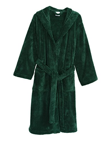 n's Robe, Plush Fleece Hooded Spa Bathrobe X-Small/Small Foliage Green ()