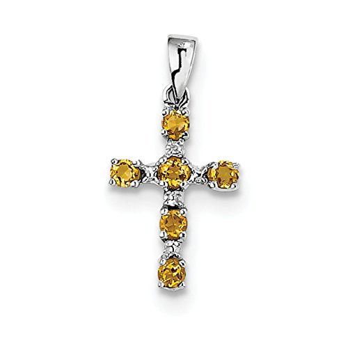 ICE CARATS 925 Sterling Silver Yellow Citrine Diamond Cross Religious Pendant Charm Necklace Gemstone Fine Jewelry Ideal Gifts For Women Gift Set From Heart Gemstone Heart Cross