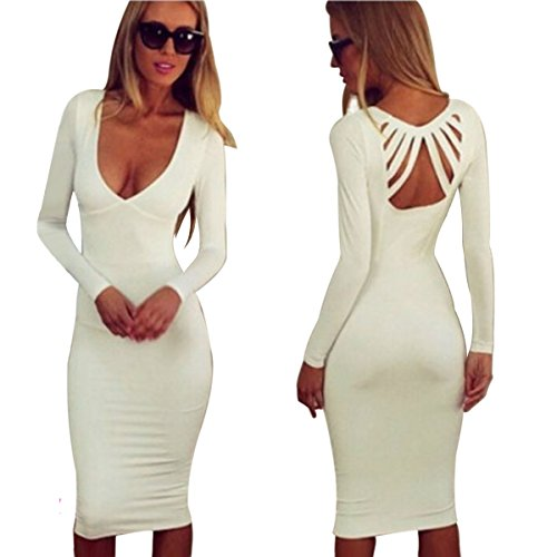 Sexy Summer Style Women's Low Cut Backless White Dress Evening Party Club Wear (L, (Sexy Low Cut White Dress)