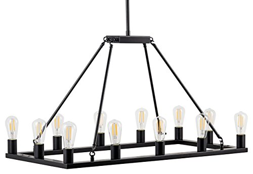 Sonoro Rectangular Kitchen Island Light - Black w/Bulbs - Linea di Liara LL-CH5-1836-5BLK