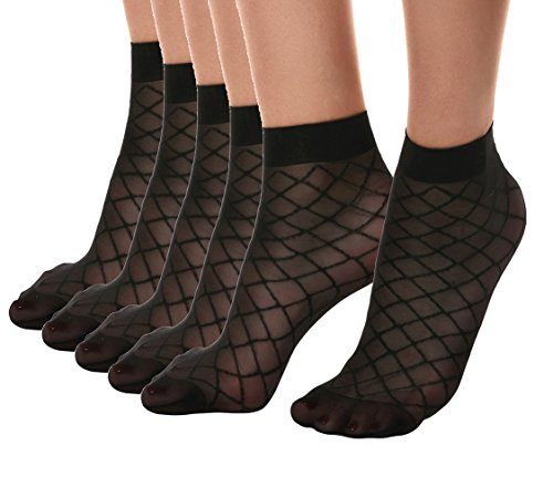 (Florboom Womens Sexy Squre Striped Patterned Sheer Ankle Dress Socks Pantyhose Black 5 Pack)