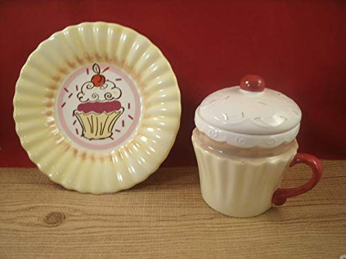 Tuweep New Ceramic Cupcake Mug Coffee Cup Saucer Plate Yellow RED TAN White 12oz by Tuweep