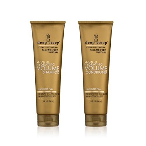 10 Oz Pure Volume Shampoo (Deep Steep Argan Oil Hydrating Volume Shampoo and Deep Steep Argan Oil Hydrating Volume Conditioner Bundle With Organic Argan Oil, Rice Protein and Marula Oil, 10 fl oz / 295 mL each)