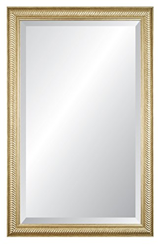 Alpine Art & Mirror 78619A Masters Grooved Framed Wall Mirror, 26 by 41-Inch, Champagne Silver Alpine Vanity
